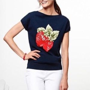 Talbots Strawberry Short Sleeved Navy Sweater M